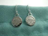 Return to Tiffany & Co Sterling Silver Mini Round Tag Hook Dangle Earrings