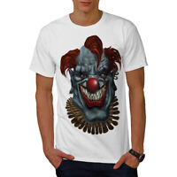 Wellcoda Creepy Horror Clown Scary Mens T-shirt, Mad Graphic Design Printed Tee