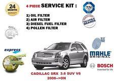 CADILLAC SRX 3.6 SUV V6 24v 4x4 2006-> OIL AIR FUEL POLLEN FILTER SERVICE KIT
