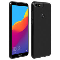 Silicone case, Glossy & matte back cover for Honor 7C / Huawei Y7 2018 - Black