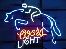 "New Coors Light Race Horse Neon Sign 17""x14"" Lamp Display Real Glass Handmade"