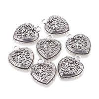 20pcs Tibetan Silver Filigree Heart Alloy Pendants Nickel Free Charms 30x24.5mm