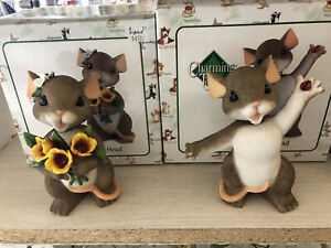 Charming Tails Fitz and Floyd Maxine And Mackenzie Bobble Head both Signed