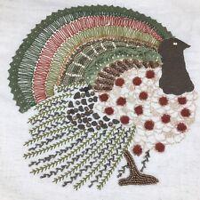 Beaded Turkey Table Runner Cream Embroidered Thanksgiving Fall Decor Designer