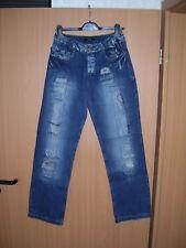 Herren Jeans Jeanshose gerades Bein blau used look Risse Flicken W30 L32 neu
