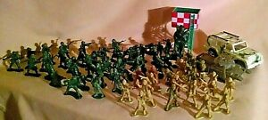 ARMY MEN LOT LARGE TANK JEEP PARATROOPER GUARD TOWER PLASTIC VARIOUS SIZES.