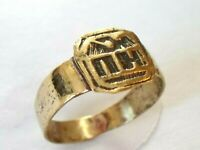 DETECTOR FIND & POLISHED,200-400 A.D ROMAN BRONZE EAGLE RING WITH LETTERS (nH)