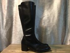 Paul Green black leather knee high boots/ Side Zip shoes Size US10