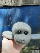 needle felted ooak baby Manatee gray new wool cotton nautical gift handmade