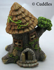 Fairy Garden Tree Trunk House Windows Doors Cottage Light Up Ganz Fantasy Mini