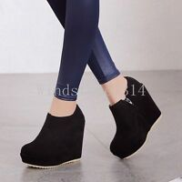 Ladies Round Toe Side Zip Ankle Boots High Wedge Heel Platform Party Shoes Sizes
