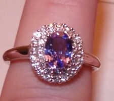 10kt 1.25 CTW WHITE GOLD  GENUINE TOP QUALITY TANZANITE AND ZIRCON  RING SIZE 6
