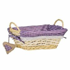 Willow Basket, Rectangle, Purple Gingham Lining