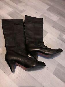 Womens KURT GEIGER Black Leather Knee High Ankle Boot Uk Size 7 Eu 41
