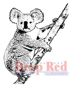 Deep Red Stamps Koala Bear Rubber Cling Stamp