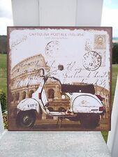 NEU Shabby Blechschild Wandbild Bild Scooter Roller Retro Antiklook 30x30cm NEU*