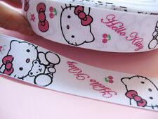 "50y 1"" hello kitty  grosgrain ribbon bow-Free Ship"