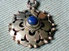 "Vintage 90's Sterling Silver & Lapis 20mm Filigree Pendant on 18""Thong £9.95nwt"