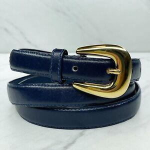 Milor Blue Vintage Skinny Bonded Leather Belt Size XL 40