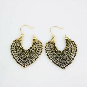 Boho Hoop Drop Dangle Earrings Tibetan Silver Round Eardrop Ethnic Women Jewelry