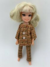 "5"" Winter Time Tiny Teen Doll Blonde Hair Houndstooth Suit Uneeda Vintage Dawn"