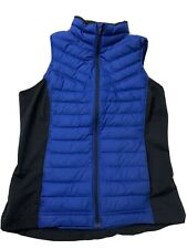Lucy Athletic Full Zip Goose Down Puffer Vest, Womens Size Medium, Blue & Black