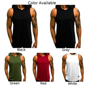 Mens Gym Pullover Vest Sleeveless Casual Hoodie Hooded Tank Tops Muscle T-Shirt