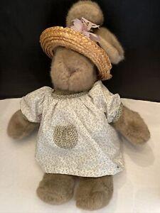 """Gund 1985 Brown Bunny Rabbit Plush Straw Hat 19"""" Vintage Easter"""