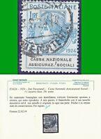 ITALY REGNO 1924 ENTI PARASTATALI -C N A S - L.1 n. 29 US CERTIFICATO