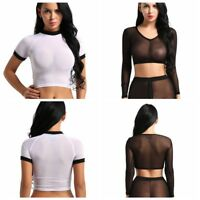 Sexy Women's Ladies V-neck Transparent Sheer Mesh Crop Top T-Shirt Tops Blouse