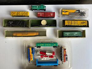 Vintage AURORA  POSTAGE STAMP Lot Of Trains Gauge N Scale Box Car Engine