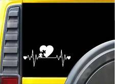 Autism Lifeline K258 8 Inch sticker puzzle heartbeat decal