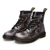 Women's Low Heel Martin Boots Combat Military Casual Leather Lace-Up Ankle Boots
