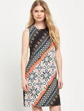 Warehouse Latina Striped Printed Shift Dress Size UK 8 Black rrp £59 DH077 AA 17