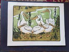 HANS BERTHOLD ORIGINAL WOODCUT. 1903 Signed. Pelican.