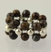 New Beaded Ring - Tiger Iron Sterling Silver Beads Stretch Band Adjustable Size