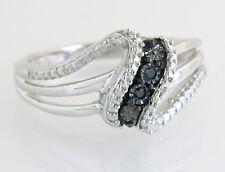 Designer 925 Sterling Silver Black & White Genuine Diamond Ring Band