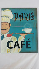 BNWT Hand Painted Glass Picture / Art / Sign Featuring Paris Cafe Designer Chic