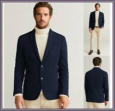 Blazer da uomo slim fit blu giacca elegante invernale cotone casual M XL