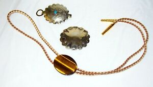 Vintage Bolo Tie with Polished Tigers Eye Gemstone with Press Slide Clip + Two
