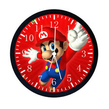 Super Mario Black Frame Wall Clock Nice For Gifts or Decor W08