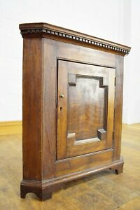 Antique rustic carved farmhouse wall mounted corner cupboard / cabinet