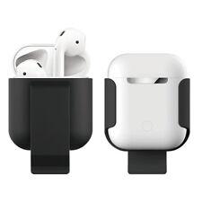 Apple Airpods Earphones Case Belt Clip Holster Protective Charging Holder Black