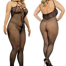 Black Plus Size Bodystocking Lace up Fishnet Crotchless Queen sexy back 1x 2x 3x