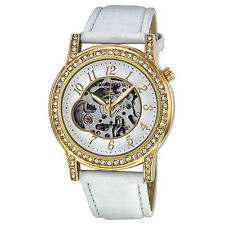 Akribos XXIV Bravura Ladies Automatic Watch AK475WT Round Gold-tone w Crystals