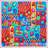 BonEful Fabric FQ Cotton Quilt Hanukkah Jewish Faith STAR Rainbow Candle Church
