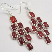 925 Pure Silver RED FIRE CABOCHON CARNELIAN MAT STYLE NICE LONG Earrings 2.2""