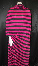 "Strech Rayon Jersey  Knit Fabric Eco-Friendly Yarn Dyed Stripes 1"" Black/Bt Rose"
