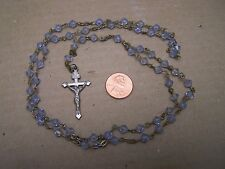 Vintage Rosary with Light Blue Crystal Beads - Mexico