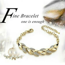 Women Exquisite Rhinestone Crystal Gold Bracelet Bangle Cuff Adjustable Jewellry